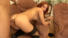 Anal Gape Sex with Redhead in Stockings